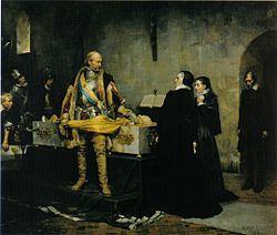 Hertig Karl skymfande Klaus Flemings lik, målning av Albert Edelfelt från 1878.jpg