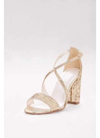 aa07cf306b95 David s Bridal Grey (Crisscross Strap Block Heel Glitter Sandals ...