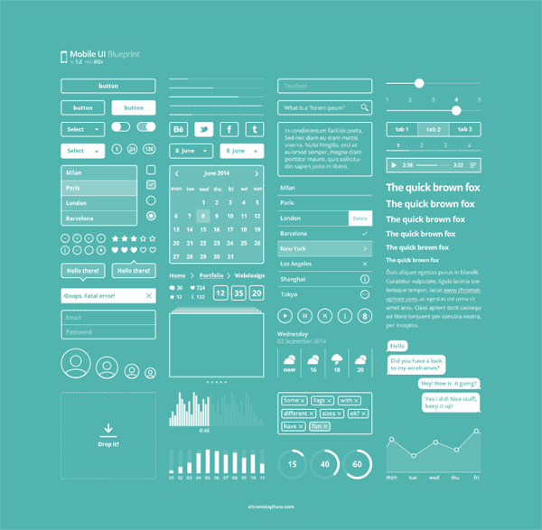 Mobile ui blueprint artbible ui pinterest mobile ui web useful and beautiful mobile ui blueprints created by lorenzo buosi ui designer and web developer includes the usual ui elements malvernweather Image collections