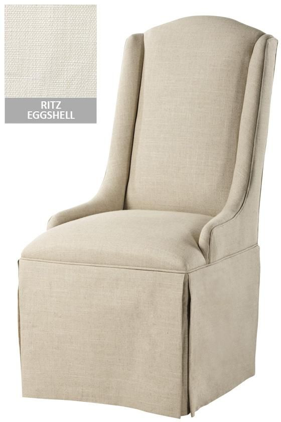Custom Wing Back Parsons Chair With Skirt In Ritz Eggshell, Sachi Ivory, Or