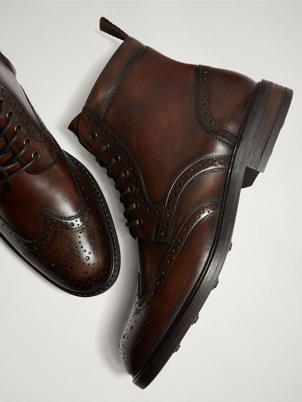 c5360e722d2 LEATHER ANKLE BOOTS WITH BROGUING - Men - Massimo Dutti | Metro Men ...