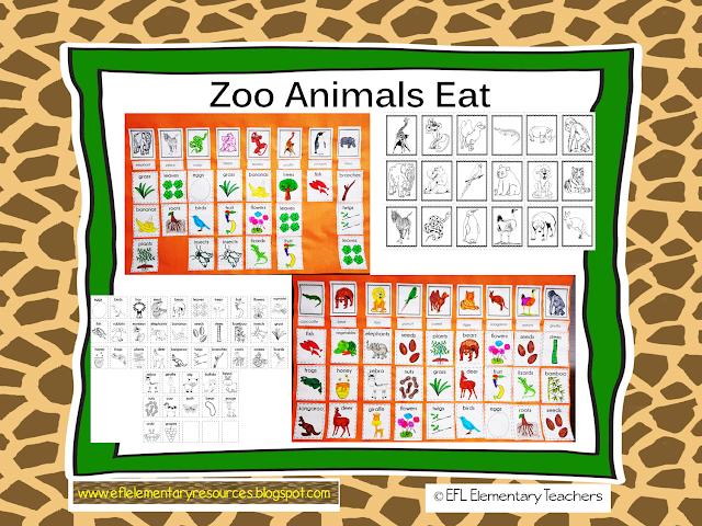 EFL Elementary Teachers Zoo animals, Activity sheets