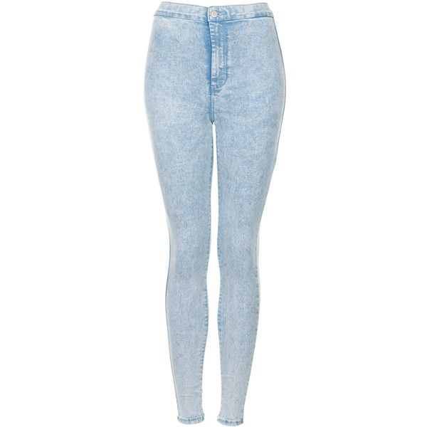 TOPSHOP MOTO Sky Acid Joni Jeans ($65) ❤ liked on Polyvore featuring jeans, pants, bottoms, calças, pantalones, bleach stone, high rise jeans, topshop jeans, high-waisted jeans and denim skinny jeans