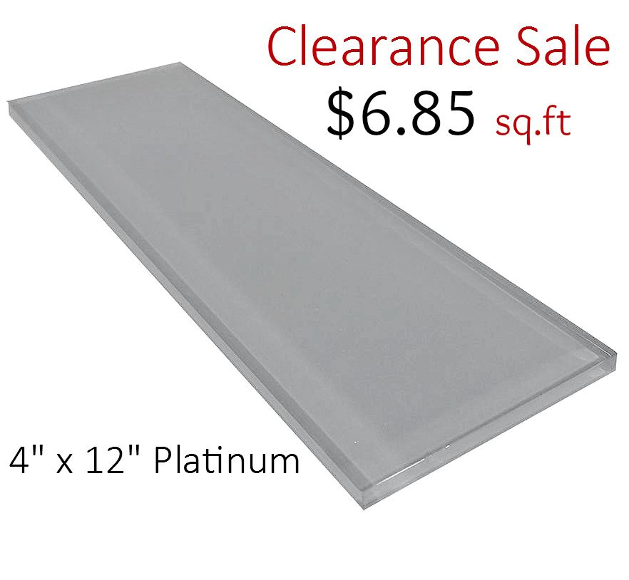 4 X 12 Glass Subway Tile Platinum 685 Per Square Foot Subway