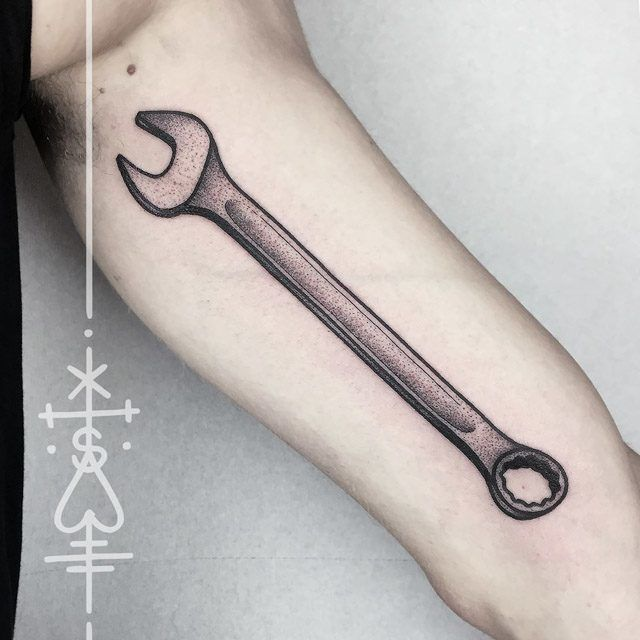 Arm tool wrench tattoo dotwork tattoo style pinterest for Piston and wrench tattoo