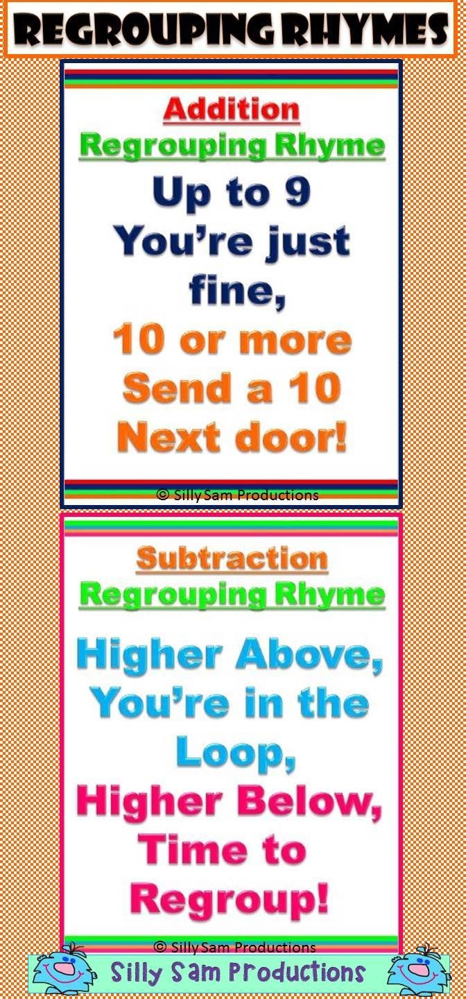 Regrouping Rhymes For Addition And Subtraction Easy To Remember Math Addition Addition And Subtraction Teaching Grade Digit addition with regrouping song