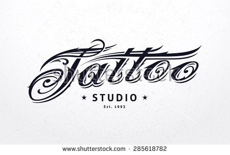 Tattoo Studio Logo Template Styled Lettering Vector Art