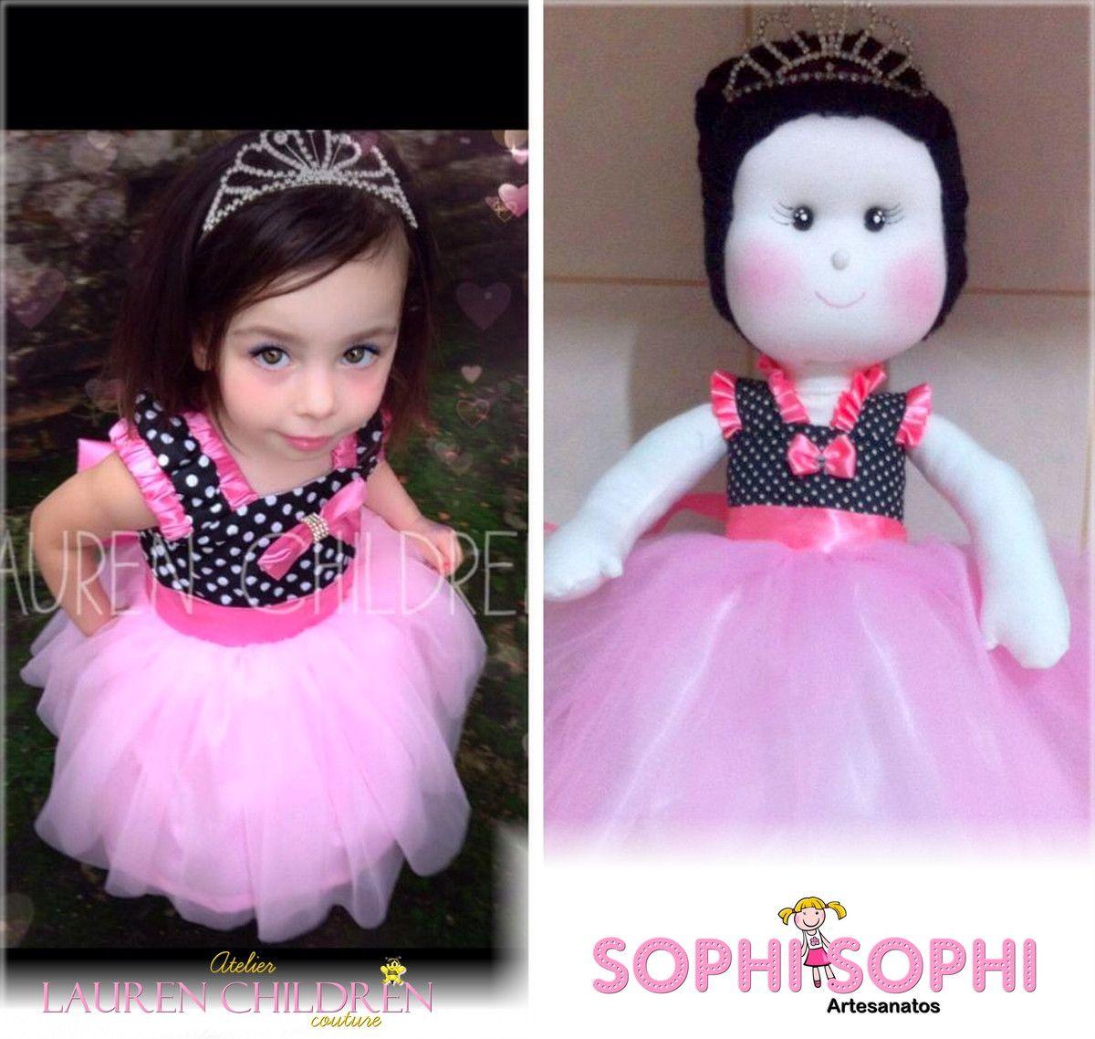 Vestido Minnie + Boneca Replica 40 cm <br>* Acompanha Coroa