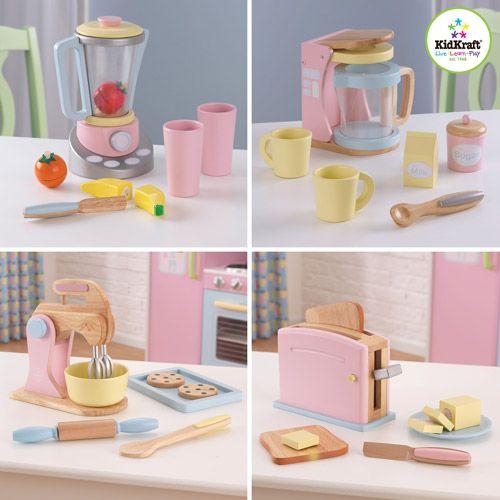 kidkraft pastel kitchen accessories 4-pack play set --all wood