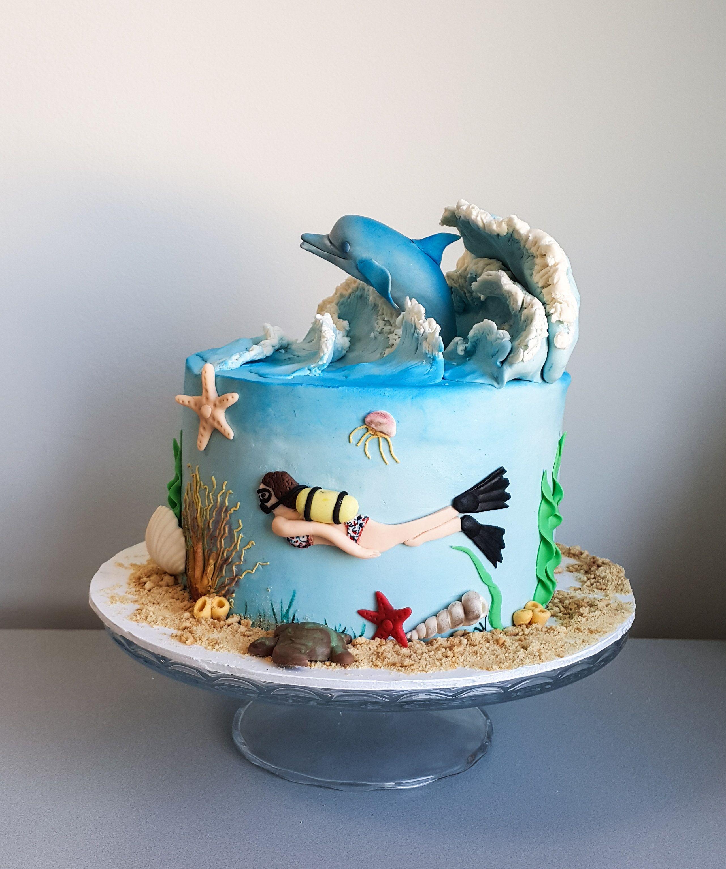 kekperest dolphin cake underwater sualt yunus dalga waves birthday cake cake topper. Black Bedroom Furniture Sets. Home Design Ideas