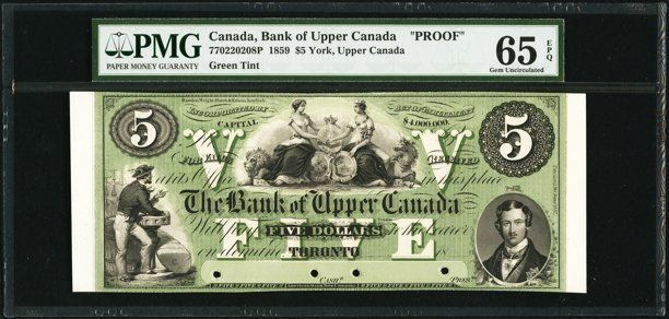 Canadian Currency: , Toronto, UC- Bank of Upper Canada $5 Ch. # 770-22-02-08P FaceProof. ...