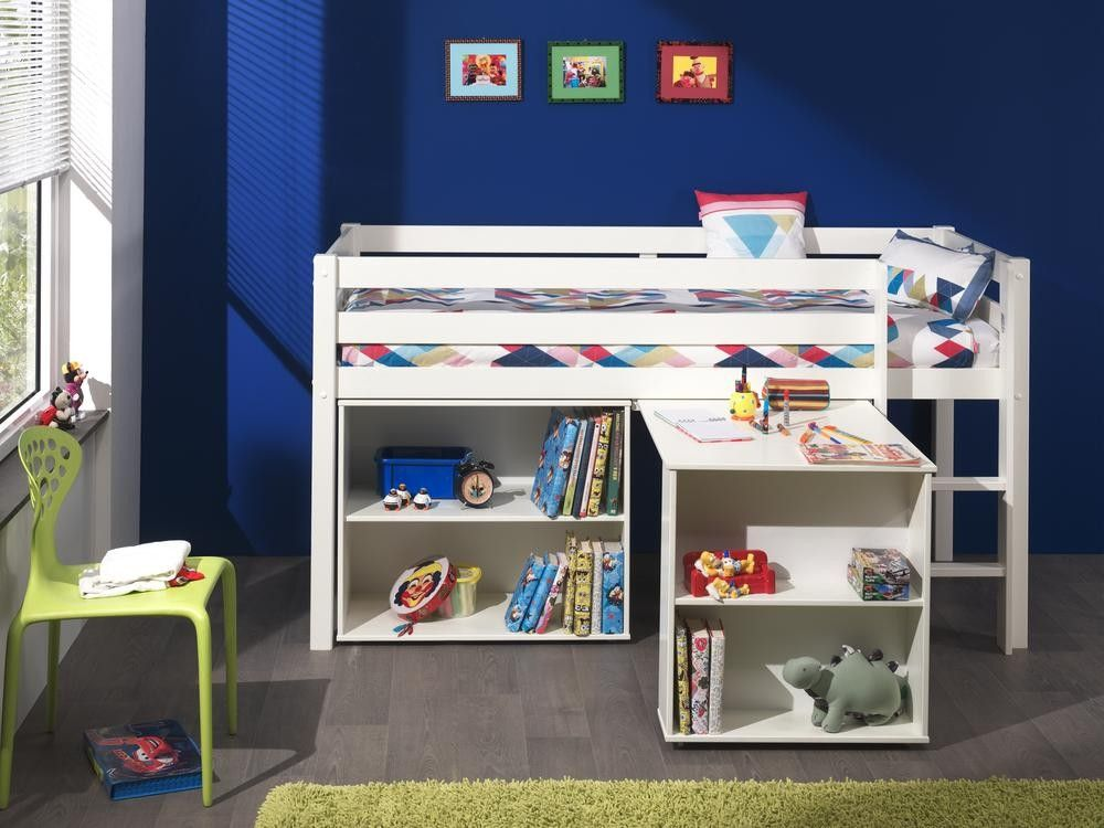Acheter un lit mi hauteur blanc avec bureau & bibliothèque