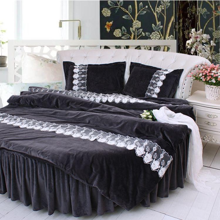 Find More Bedding Sets Information About Round Bed Black Color Lace Velvet Bedding 4pcs Sets Luxury Round Bed Supe Round Beds Black Bedding Luxury Bedding Sets