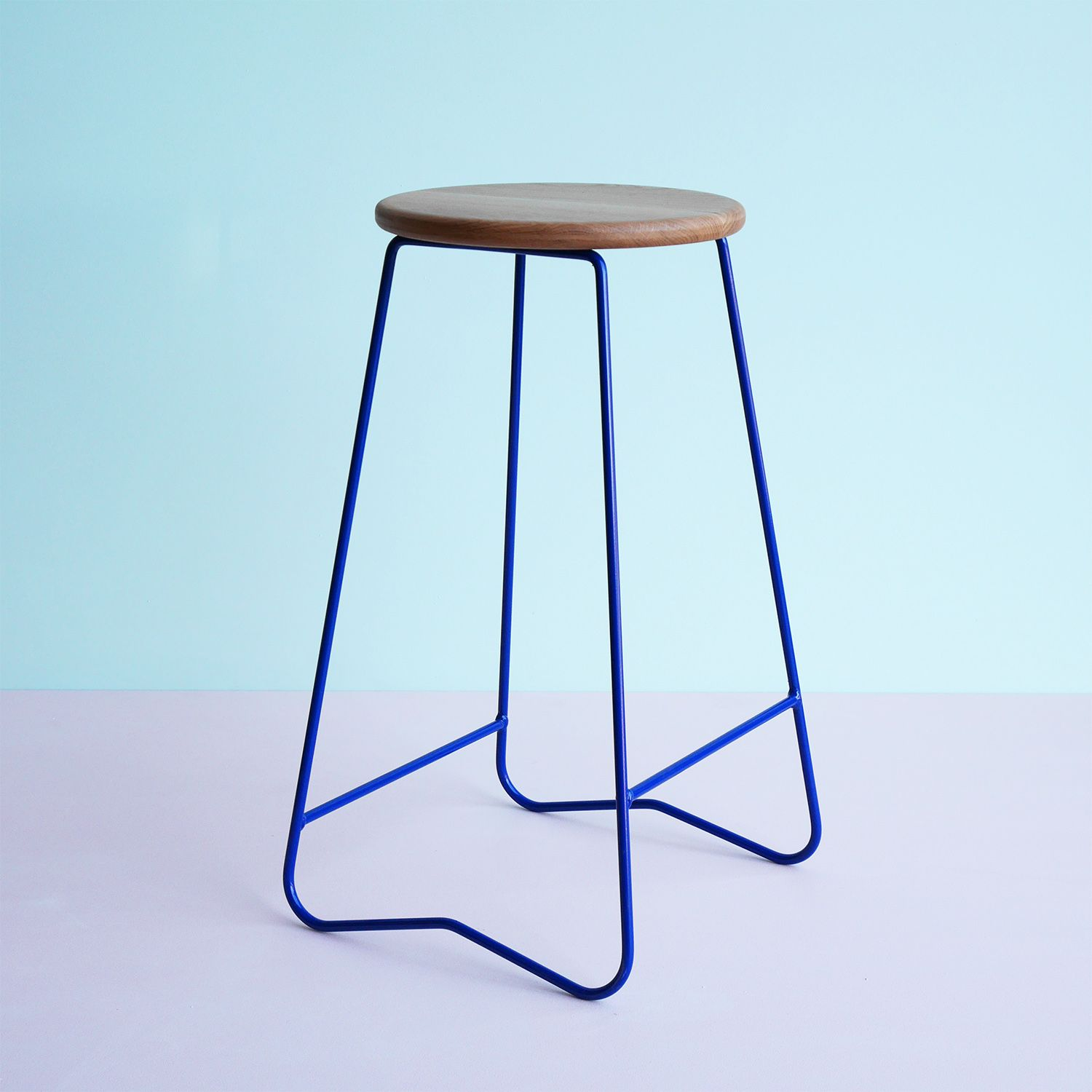 HOPA BLU bar stool American Oak seat on space blue steel frame Made ...