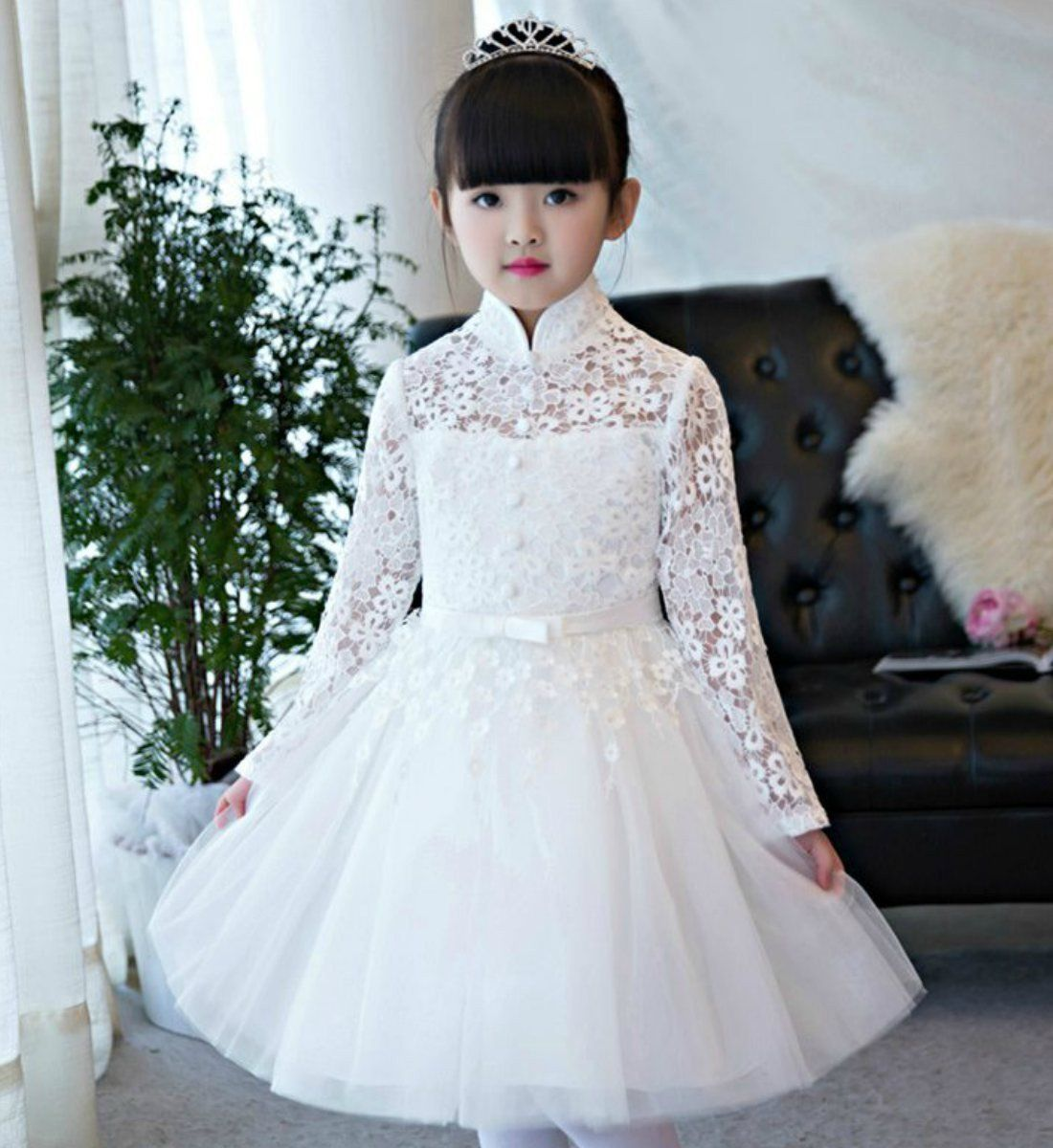 61e75e09c649 High-Neck Mandarin Collar Dress