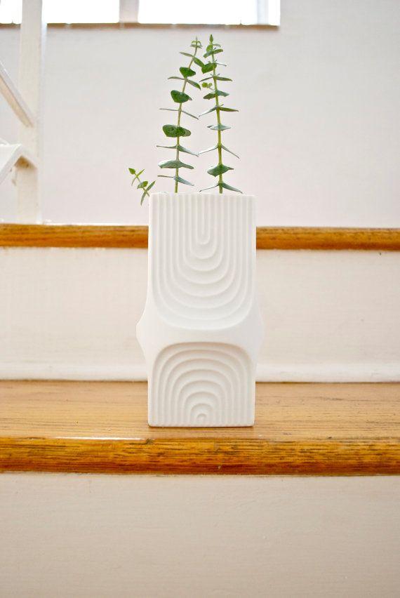 Mid Century Matte White Porcelain Vase