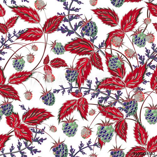 Colored raspberries seamless pattern. Seamless pattern with colored hand draw graphic navy blue red raspberries and leaves. Vector illustration.