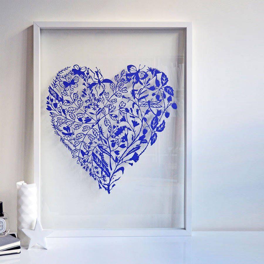 Love Bugs paper cut Blue