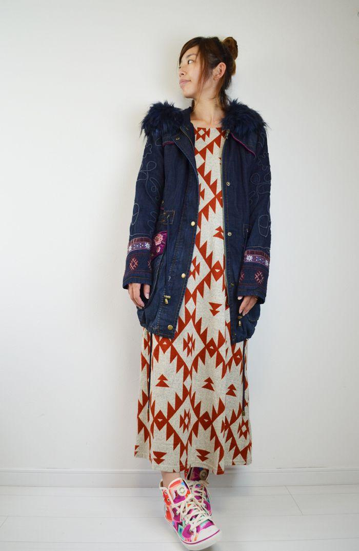 ゆったり マキシワンピース 冬のあったか 起毛カットソー。ガト PORINA エスニック ジオメトリア ドレス 個性