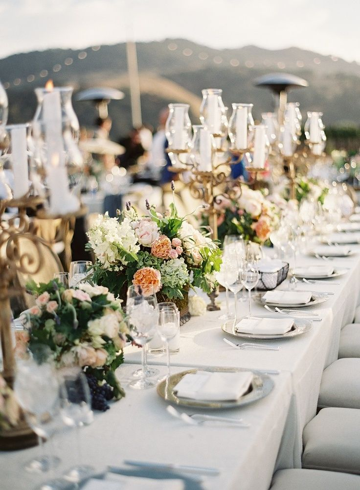 Candelabras And Low Long Table Centerpieces