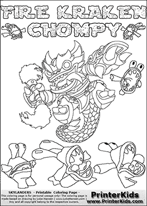 Printable Or Online Colorable Skylanders Swap Force Coloring Page With The Original Swappable Character Fire Kr Coloring Pages Skylanders Skylanders Swap Force