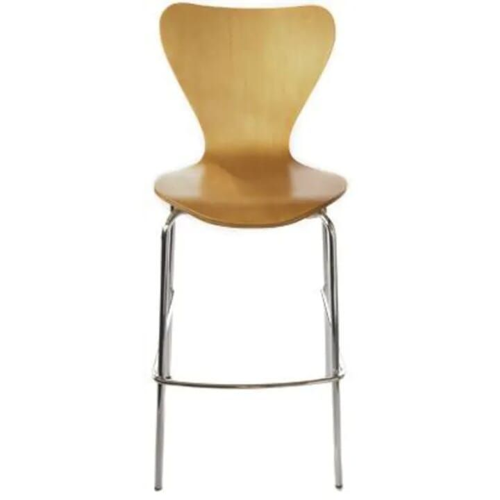 Wood Shell Stackable Commercial Bar Stool In Natural Chair