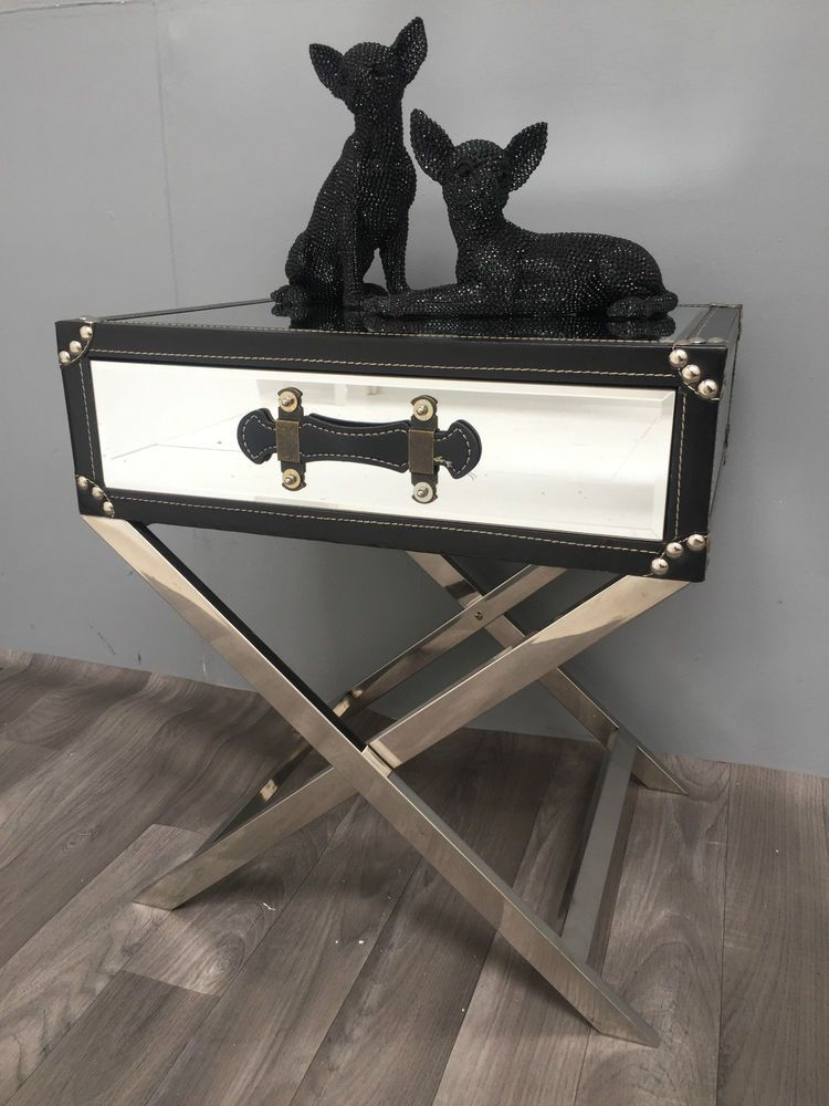 New 1 Drawer Mirrored Luggage Style End/side Table,X Shaped Legs,