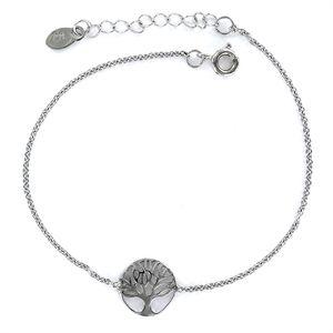 Pulsera de plata rodiada Arbol de la Vida calado de 10 mm con cadena forzada