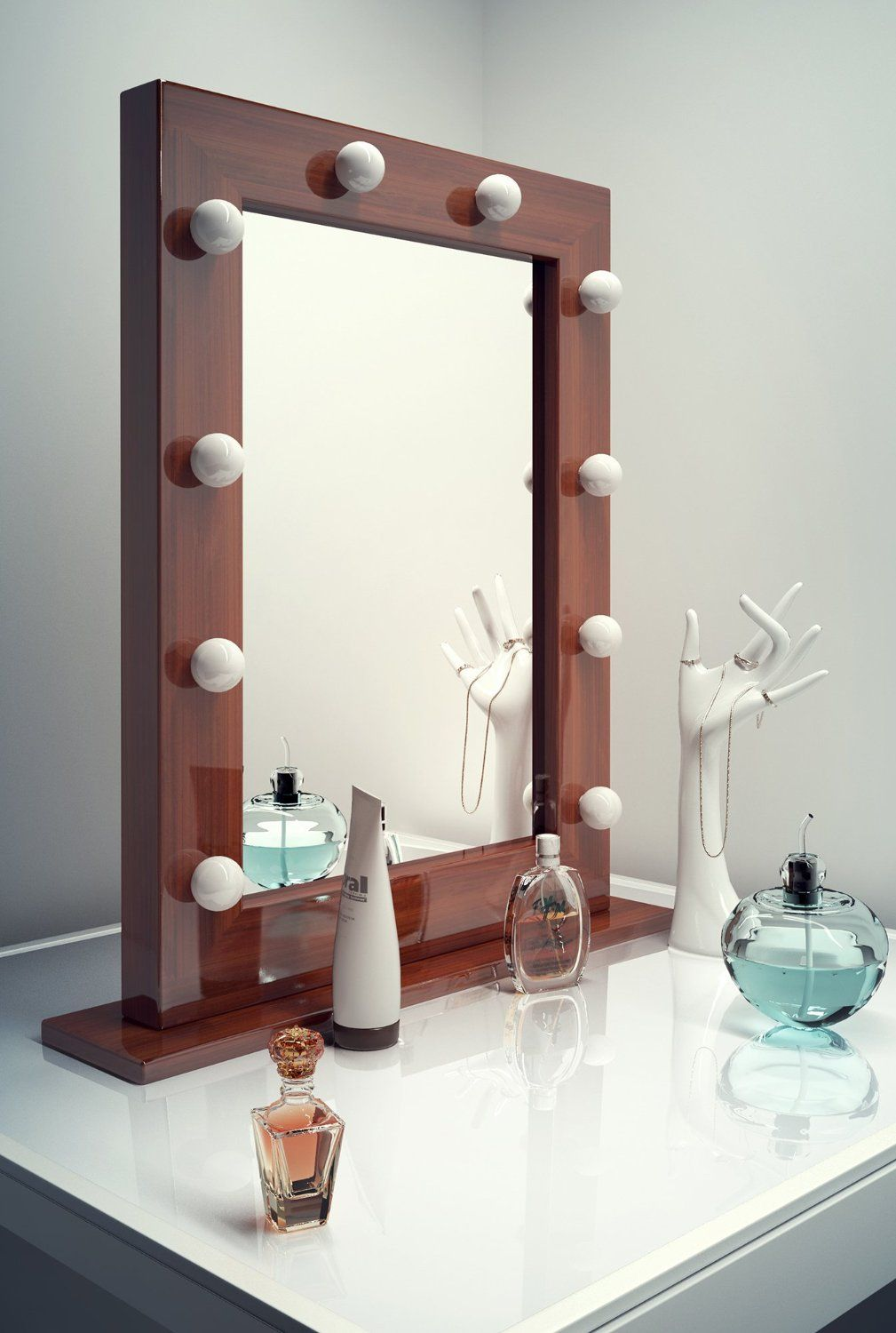 Dark Hollywood Makeup Dressing Room Mirror with Cool White