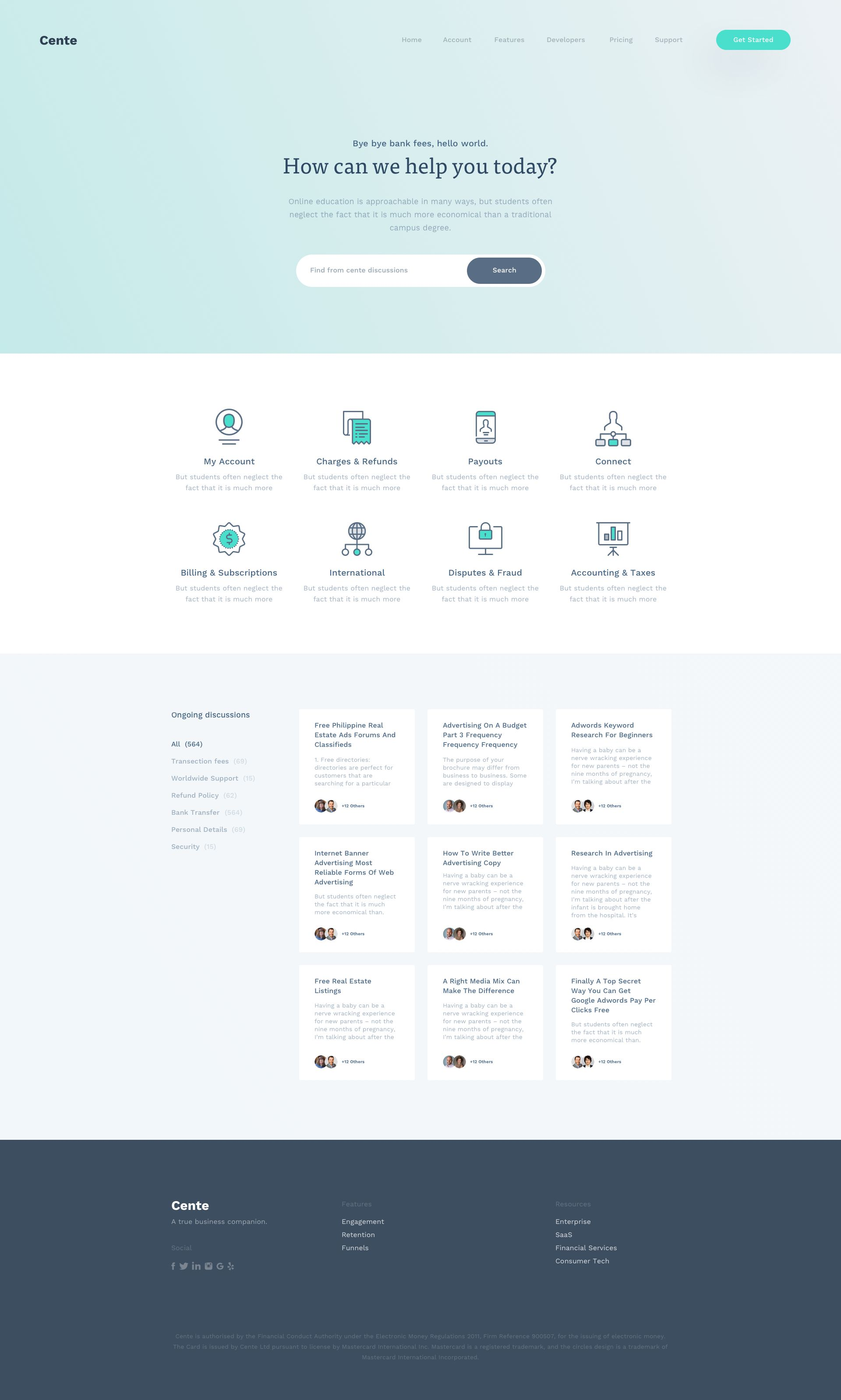 Cente Full Support Page Website Design Layout Web Design Websites Wordpress Website Design