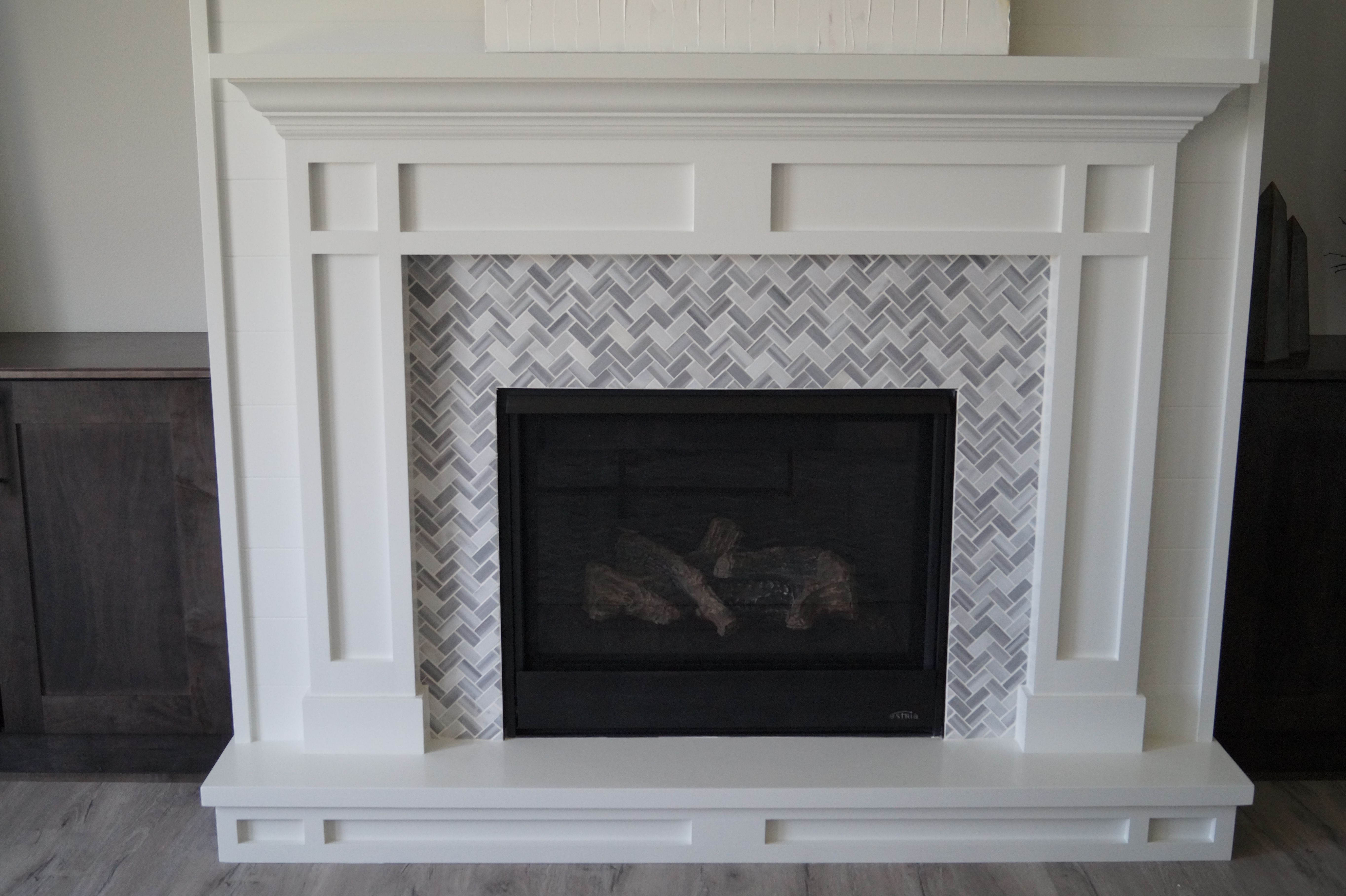 Fireplace In A 1x2 Marble Mosaic Tile Surround Mosaic Fireplace
