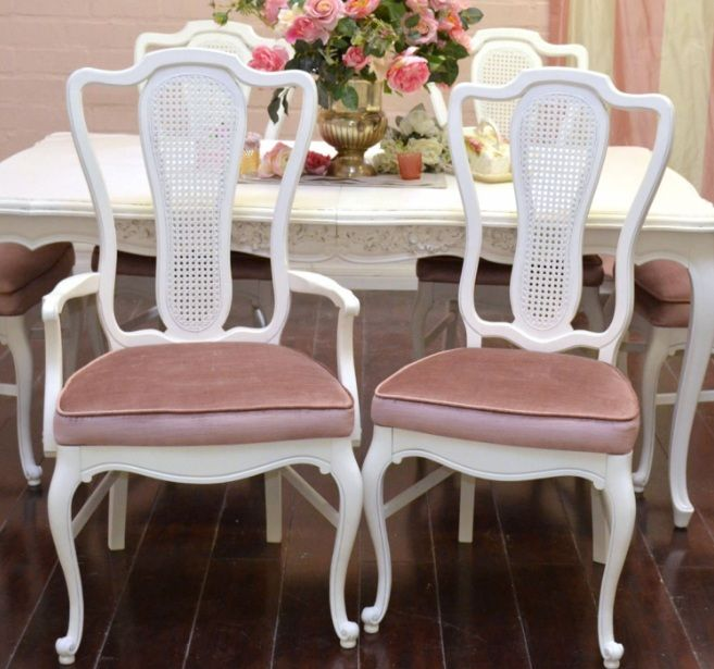 Merveilleux White And Pink Velvet French Provincial Dining Room Chairs Furniture Ideas  | Decolover.net