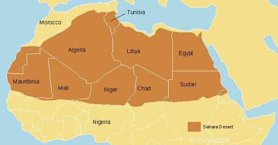 Sahara Desert Map | Maps and ... | Desert map, Map, Deserts