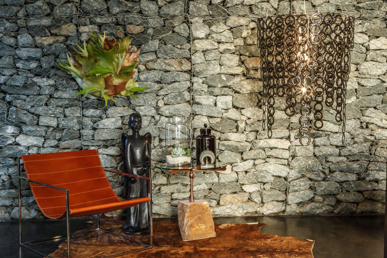 egg designs furniture. Egg Designs Furniture \u0026 Surilight Chandelier Offset Against Gabion Wall. Sling Chair Stone Side