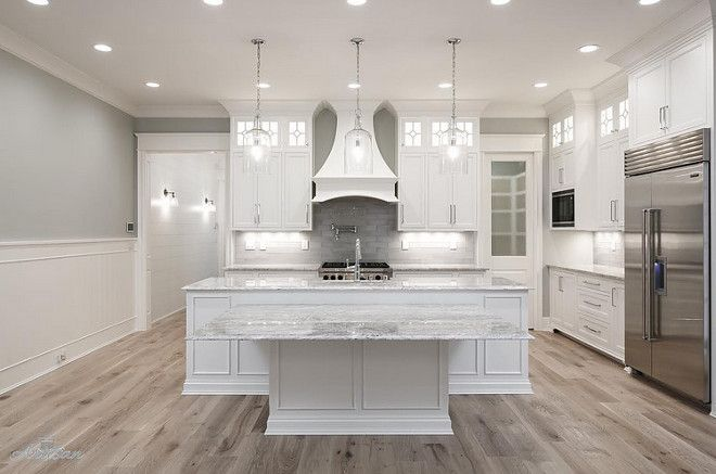 White kitchen cabinets gray walls natural wood floors - Grey wood floors modern interior design ...