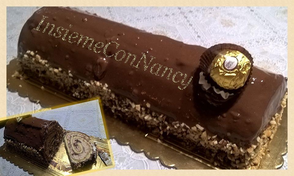 Tronchetto al cioccolato con crema rocher, realizzato con la pasta biscuit e farcito con crema rocher. Un dolce perfetto sia per i grandi che per piccini.
