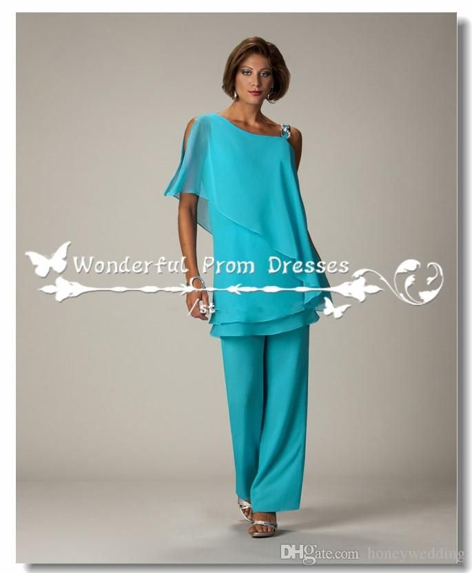 Latest Turquoise Chiffon Mother Of The Bride Pant Suits Custom ...