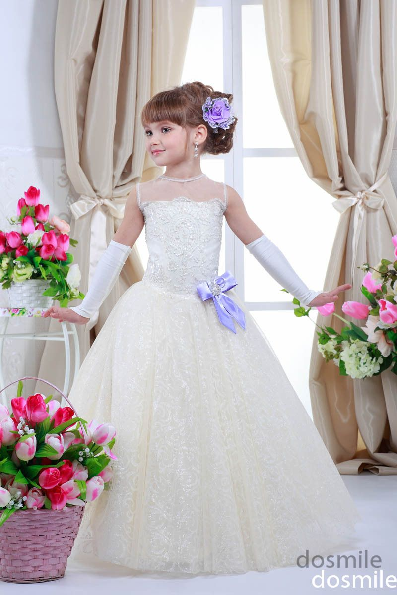 2015 Lace Sleeveless Illusion Neck With Bow Crystals Ball Gown The holy First Communion Gown Flower Girl Dress For Wedding Party-in Flower Girl Dresses from Weddings & Events on Aliexpress.com   Alibaba Group