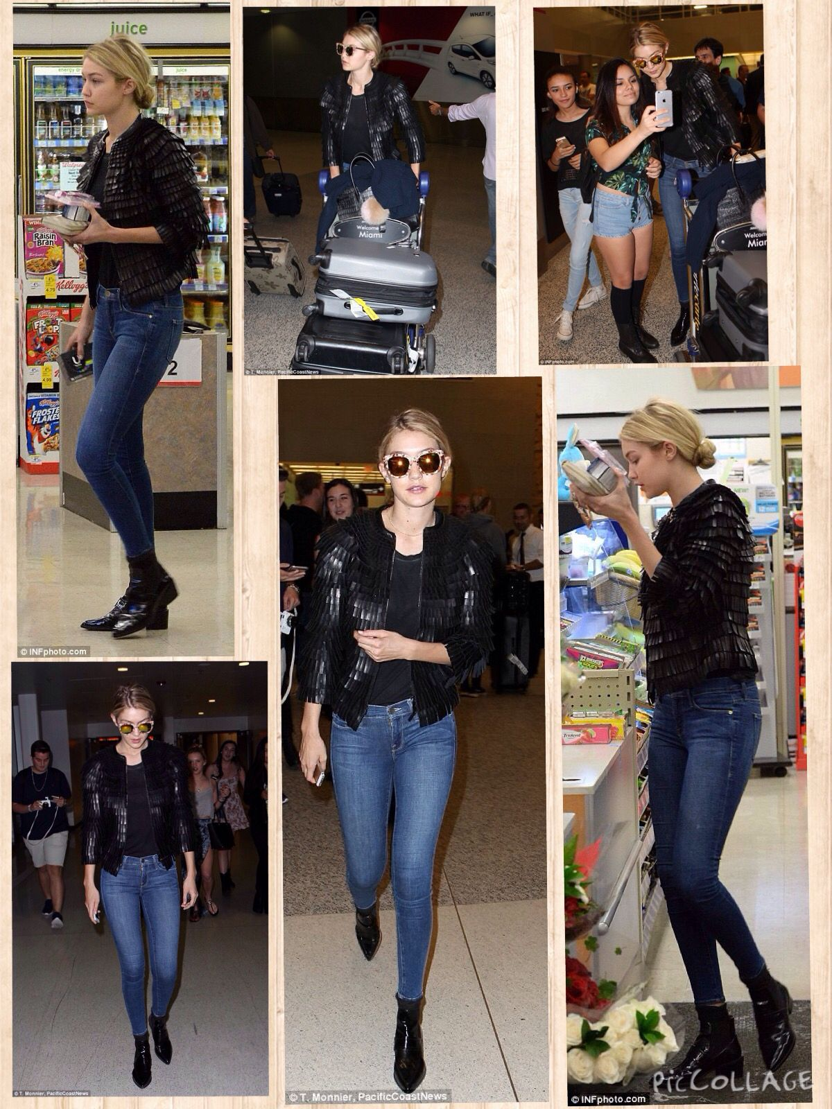 Gigi, 19, was seen arriving into the terminal solo and cut a casual figure in blue skinny jeans, a black T-shirt and textured black leather jacket.  Completing her look were some stylish ankle boots and patterned sunglasses and she pinned her long locks into a neat bun.