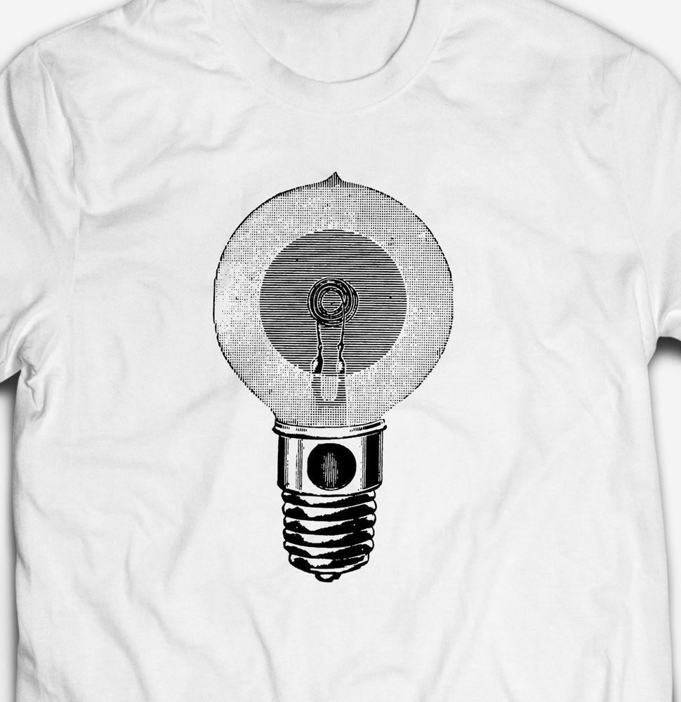 RETRO VINTAGE LIGHTBULB LIGHT BULB GEEK NERD 100/% cotton Mens T-shirt Tee