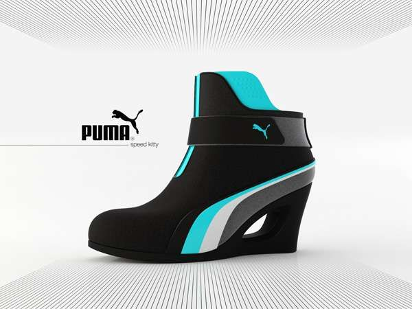 SciFi Platform Concepts  puma speed kitty heels is part of Shoes - puma speed kitty heels  Time for a concept platform shoe from our favorite feline footwear manufacturer, the Puma 'Speed Kitty' heels are mattelooking closed