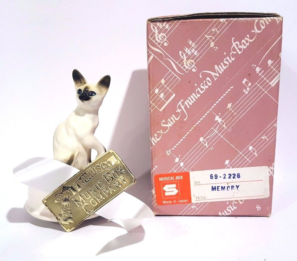 Vintage Siamese Cat Kitten San Francisco Music Box Co Japan Memory Mini Cats And Kittens Siamese Cats Music Box