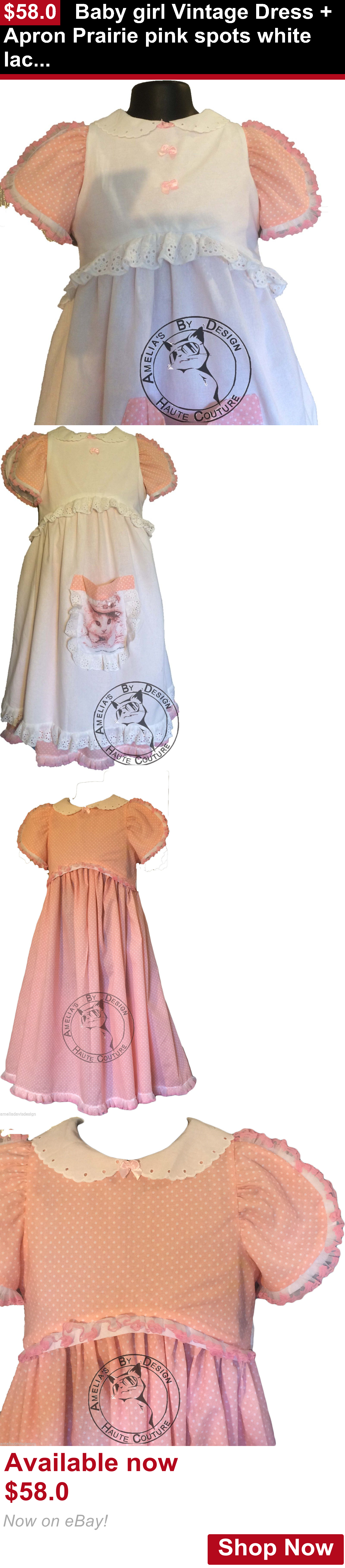 White lace apron ebay - Children Vintage Clothing Baby Girl Vintage Dress Apron Prairie Pink Spots White Lace Eyelet Lined Aus Buy It Now Only 58 0 Pinterest