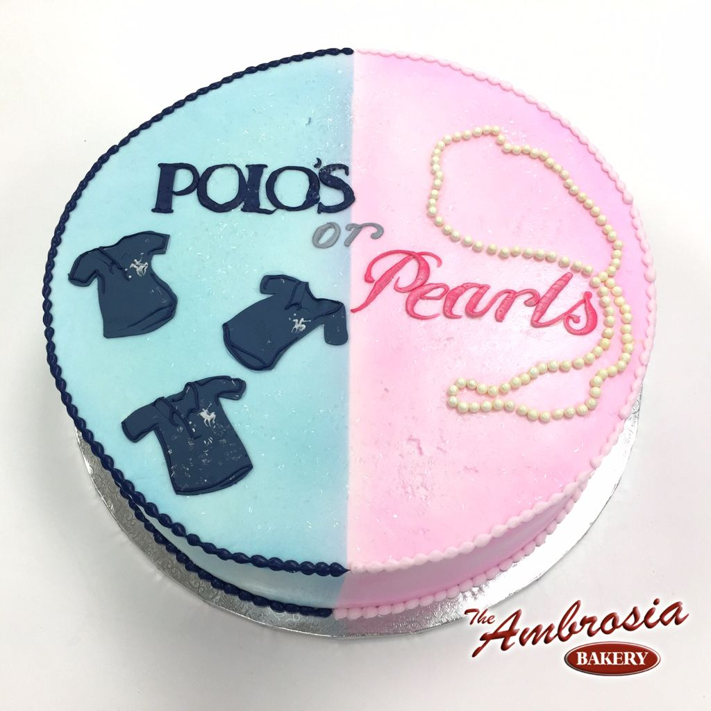Polo\'s OR Pearls Gender Reveal Cake | The Ambrosia Bakery Cake ...