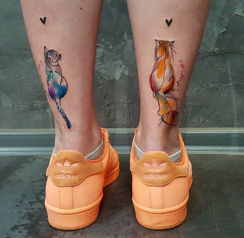 Cute Cats Back Of Girls Legs Best Tattoo Ideas Designs Tattoos