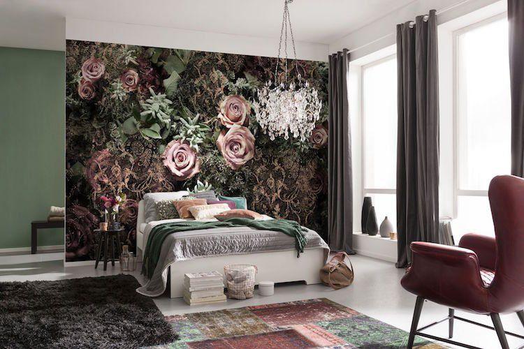tendance velours 2018 papier peint velours deco chambre coucher interiordesign season warm