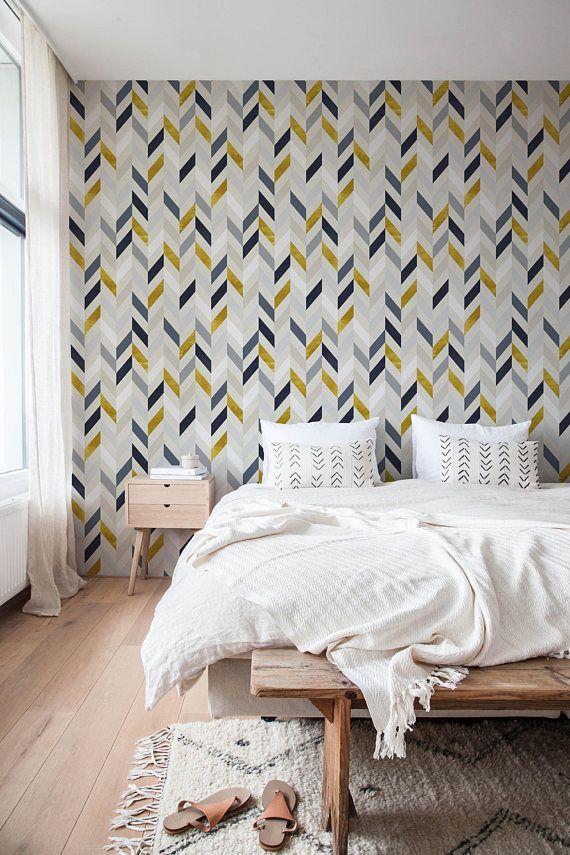 Chevron Wallpaper Herringbone Wallpaper Peel And Stick Etsy Removable Wallpaper Home Decor Temporary Wallpaper