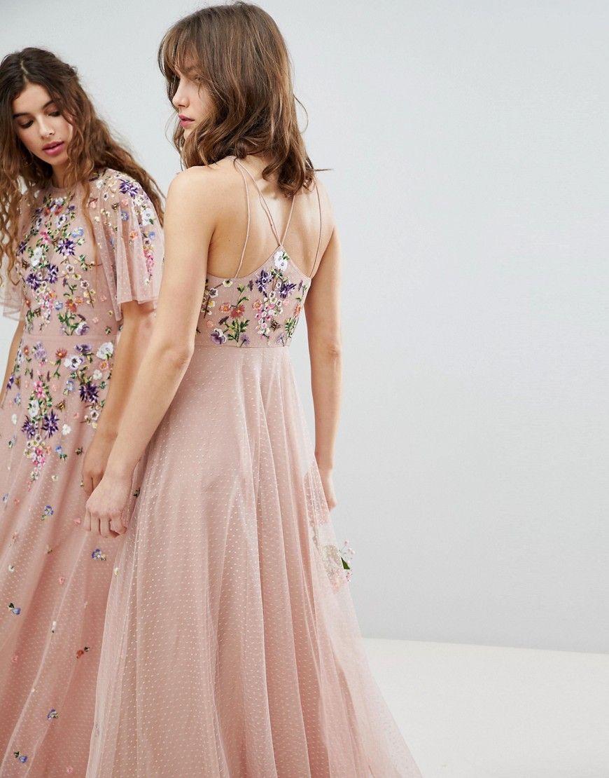 e5ffb410a70d Asos Wedding Floral Embroidered Dobby Mesh Cami Strap Maxi Dress