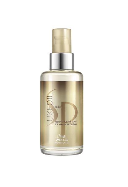 SP LUXEOIL RECONSTRUCTIVE ELIXIR 100 ml  Restrukturierendes und schützendes Öl  veredelt die Beschaffenheit Ihres Haares.  Die spezielle Kombination der Öle dringt in die Haarstruktur ein, schützt das Haarkeratin und verleiht sofortige und langanhaltende Geschmeidigkeit.  Mit Argan-, Jojoba-, und Mandelöl.