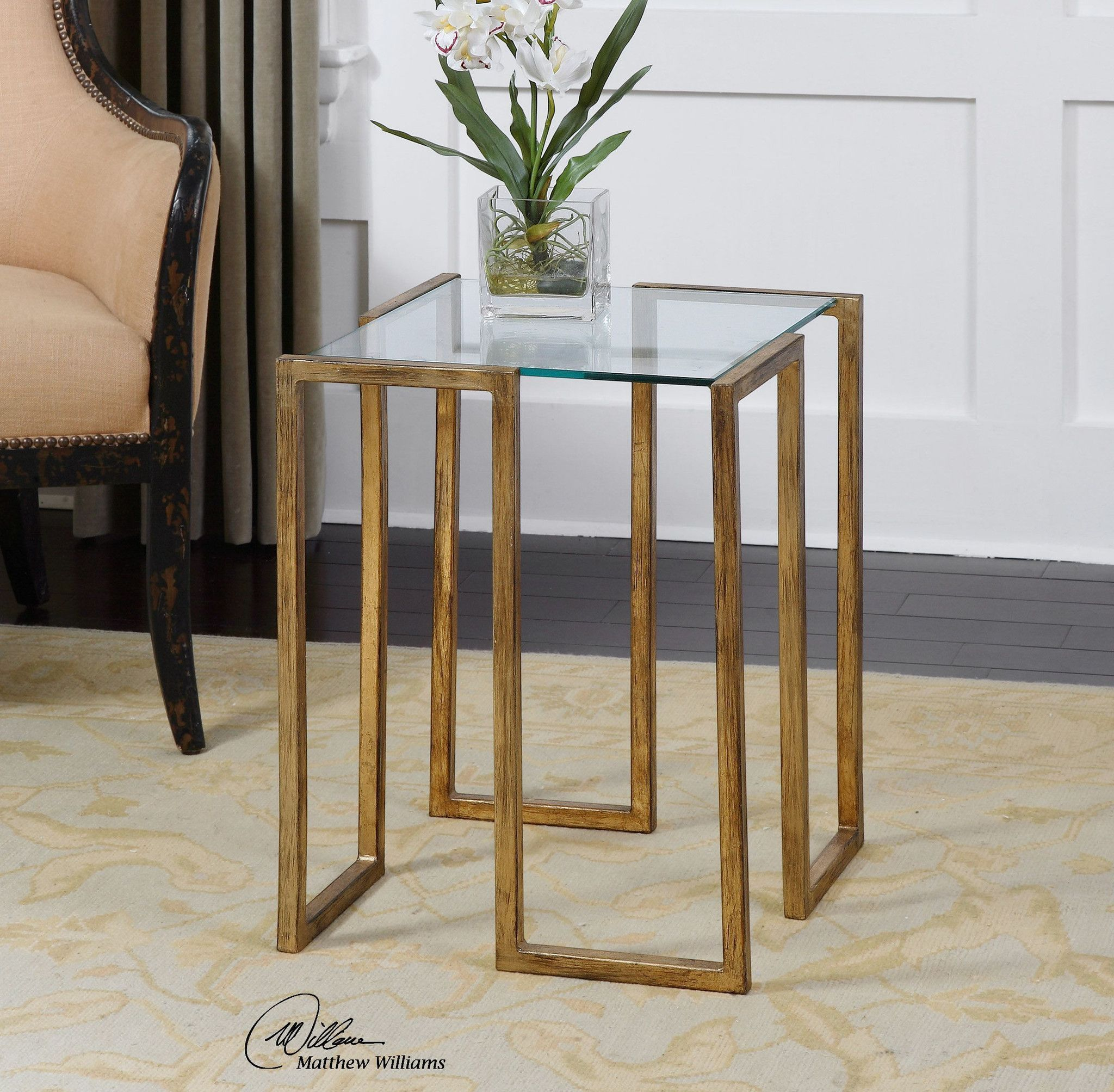 Uttermost mirrin accent table products pinterest products uttermost mirrin antique gold accent table overstock shopping great deals on uttermost coffee sofa end tables geotapseo Images
